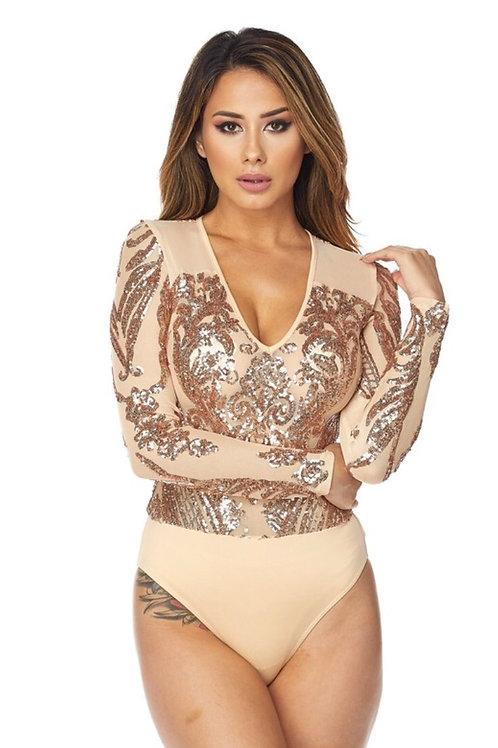 Nude Sequins Bodysuit