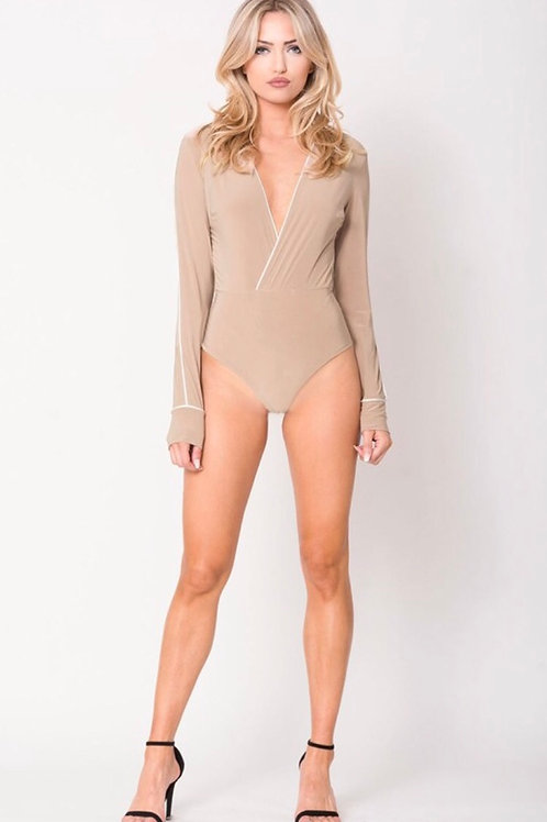 Nude Bodysuit with White Lining