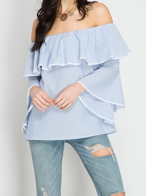 Breezy Blue and White Stripe Ruffle Off The Shoulder