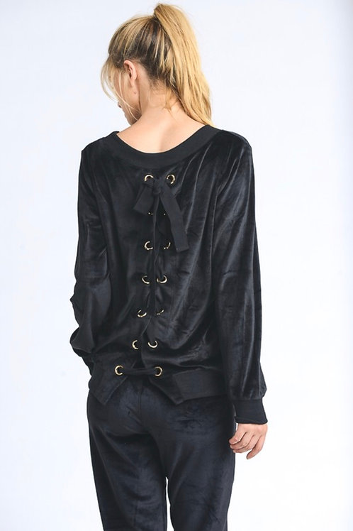 Black Velour Lace Up Sweatshirt