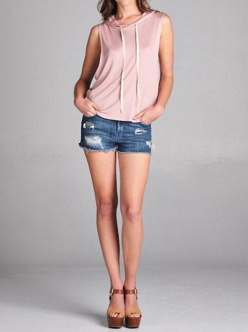 Pink Sleeveless Hoodie