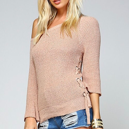 Taupe Side Lace Sweater