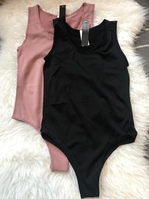 Black and Mauve Seamless Bodysuit Set