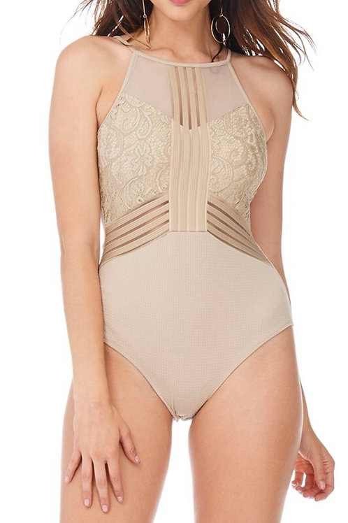 Nude Embroidered Bodysuit