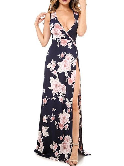 Navy Floral Slit Dress