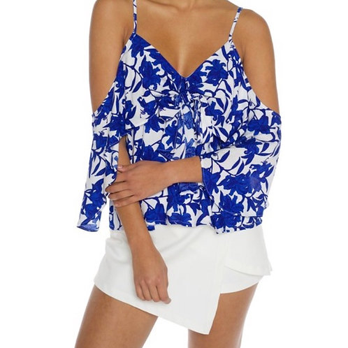 DULCE Blue and White Open Shoulder
