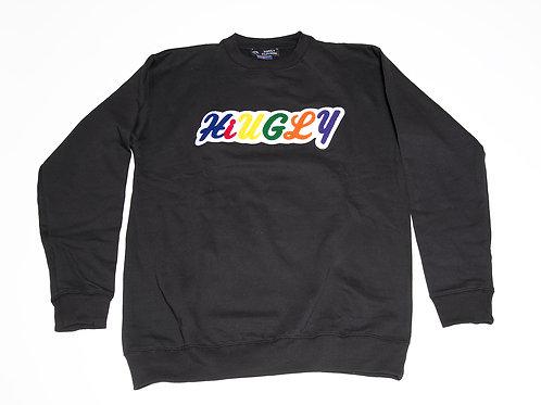 Black Crewneck Chenille colorful print sweater