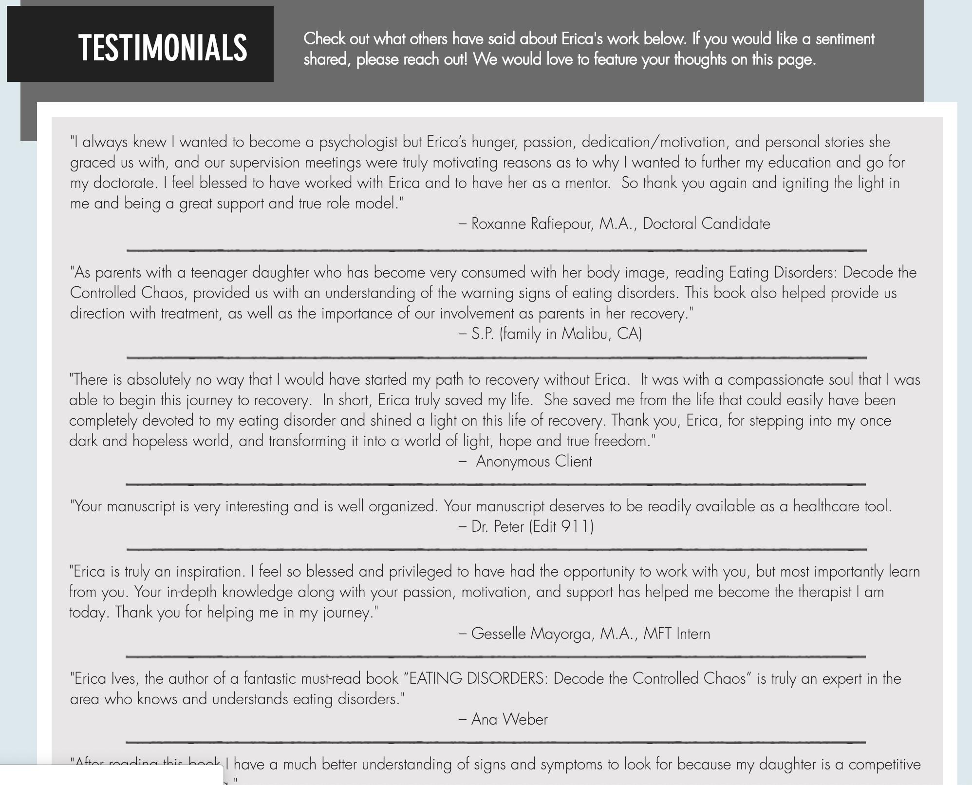 Impact & Testimonials | Erica Ives | Expert Therapist Los