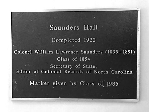 Artifact of the Month: Saunders Hall plaque