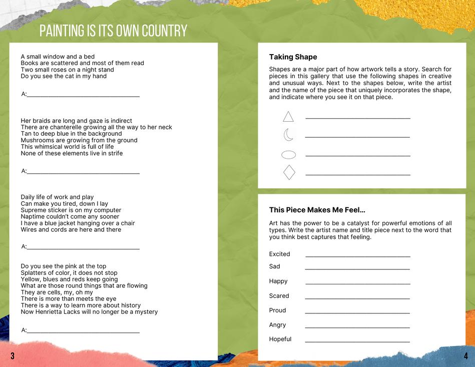 Gantt Center Gallery Activity Booklet (Sample)