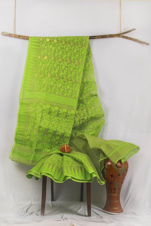 Parrots of the Summer - Handwoven Cotton Green Dhakai Jamdani