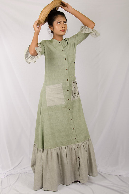 Meadow - Green and Grey Maxi Shirt Dress