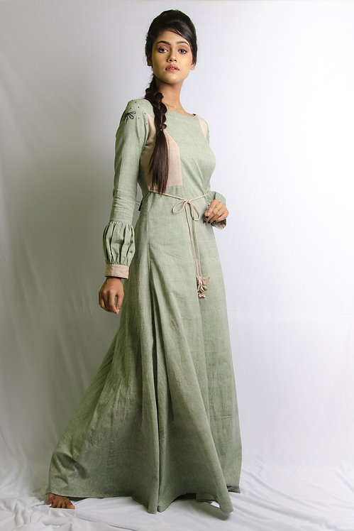 Victoria - Green and Brown Maxi Dress