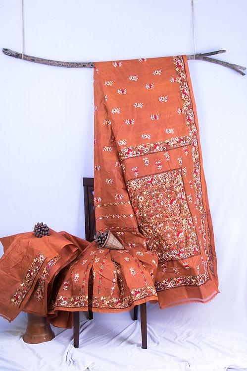 Little Annie - Embriodered Rust Orange Tussar Silk