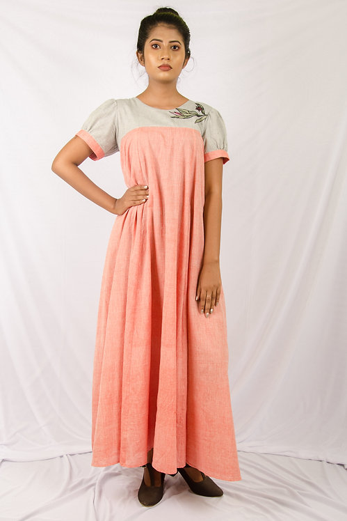 Dusty Rose - Red and Grey Swing Dress