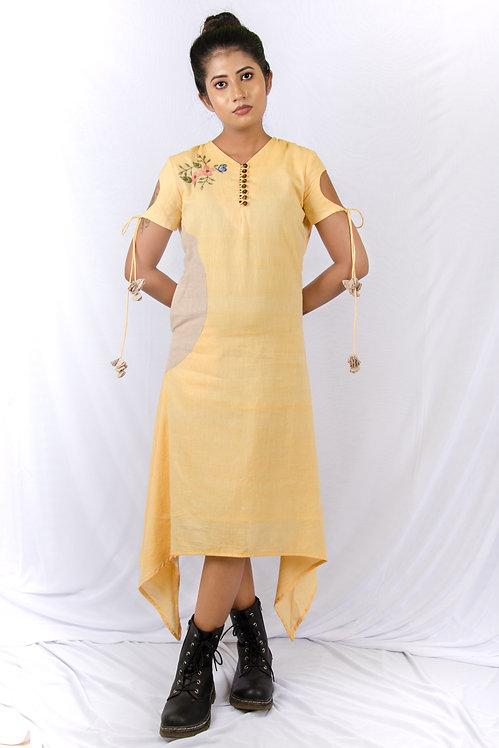 Lemon Drops - Yellow and Brown Asymmetrical Hemline Short Dress