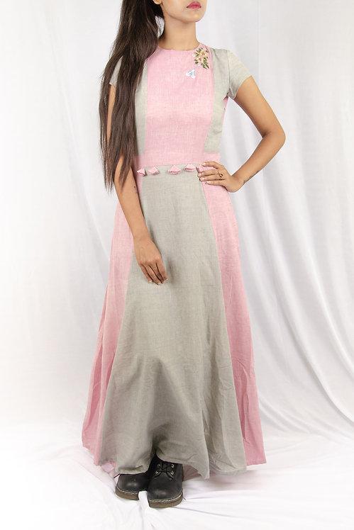 Pink Sway - Pink and Grey Maxi Dress