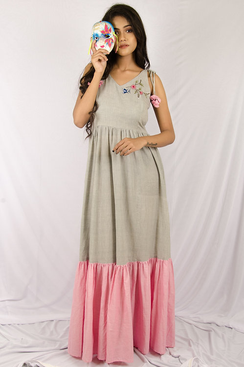 Blossoms - Grey and Pink Maxi Dress