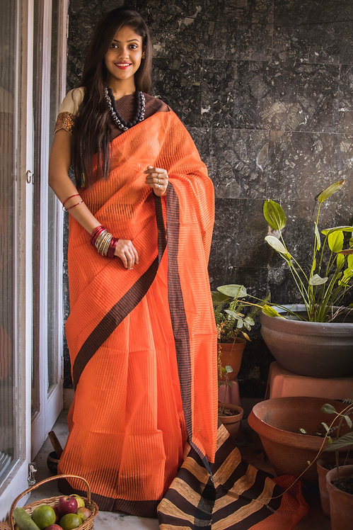 Another Brick in the Wall - Orange Cotton Handloom