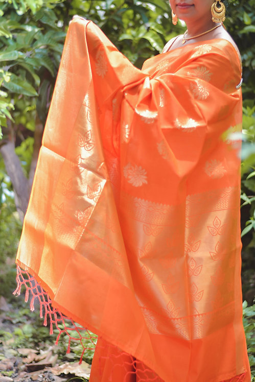 Tangerine Trees - Orange Maheshwari Silk