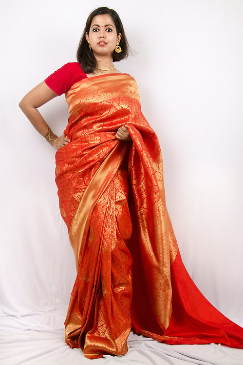 Roses in a Gold Mine - Red and Gold Banarasi Silk