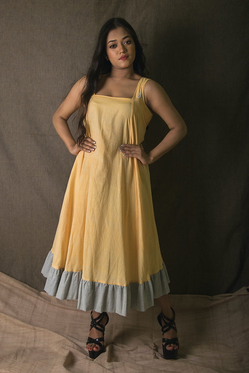 Mangolicious - Yellow and Grey Swing Dress