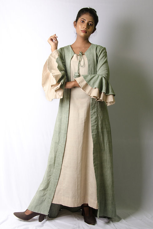 Forest - Beige Dress with a Green Overlay Jacket