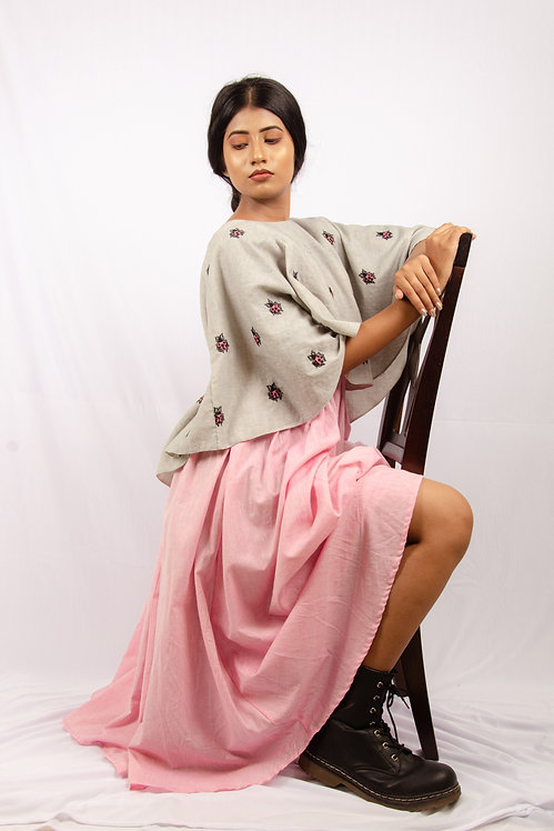 Candy Floss - Pink Dress with a Grey Cape