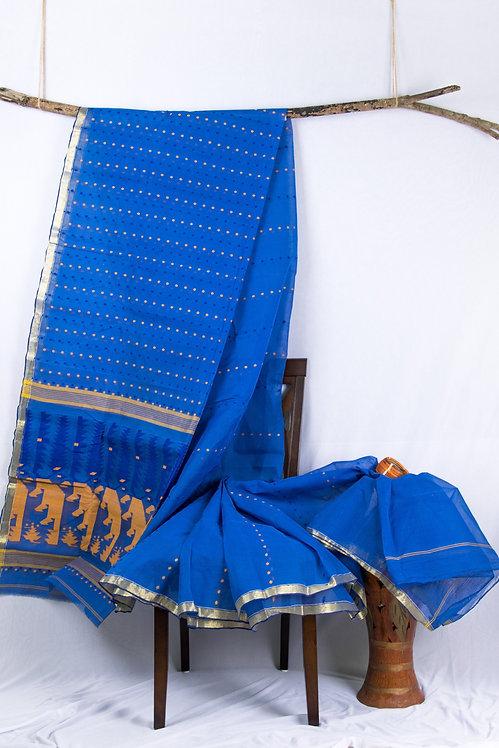 Stars in the Night Sky - Blue Handwoven Thousand Butis Dhakai Jamdani