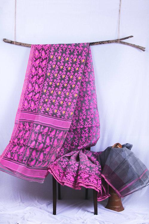 Pink Shadow - Handwoven Cotton Grey and Pink Dhakai Jamdani
