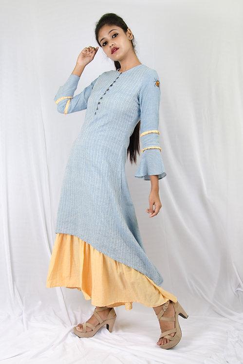 Blue Kantha - Blue and Yellow Midi Dress