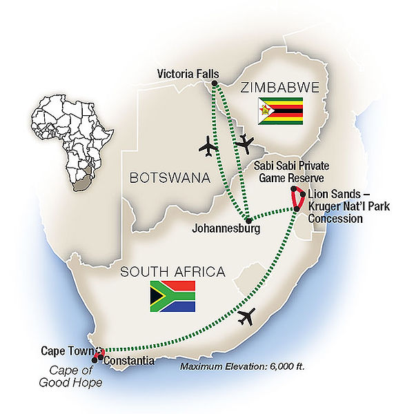 South Africa An Elegant Adventure - map.