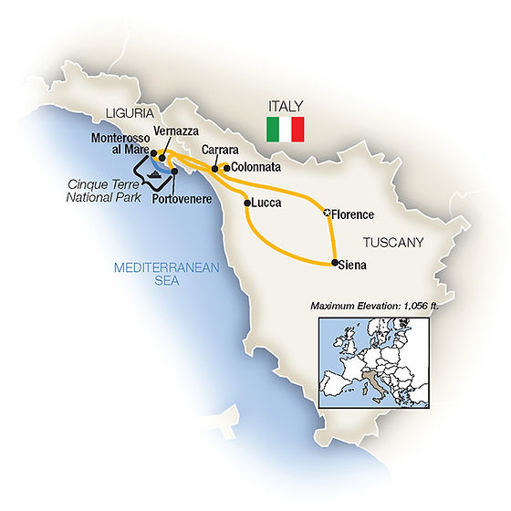 Tauck Italy - Tuscany Cinque Terre - map