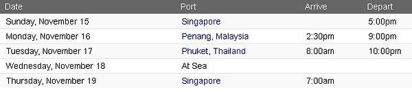 Rccl Singapore 15 Nights SIN-Pen-HKT 15N