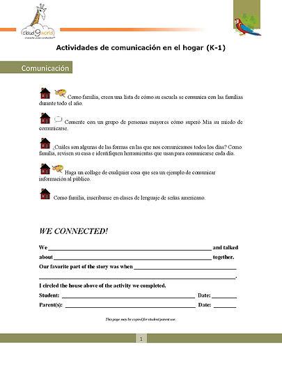 Home Connection  K-1 Spanish _Communicat