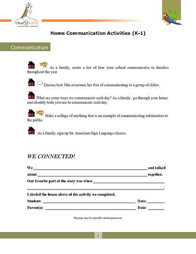Home Connection  K-1 English _Communicat