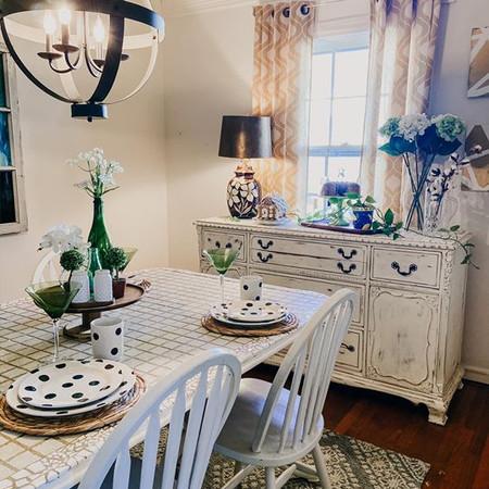 Custom Dining Table & Buffet with Modern Light Fixture