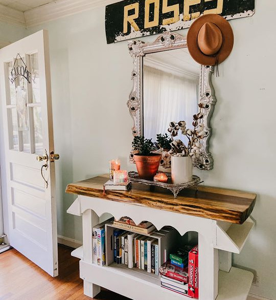 Entryway with Custom Table & Vintage Sign