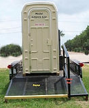 self contained trailer mounted Porta Potty, fresh water hand wash, Comfort Station, hand rail, durability,