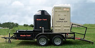 Trailer Mounted Porta Potty, fresh water hand wash, no waste in the stalls, lower contagion risk