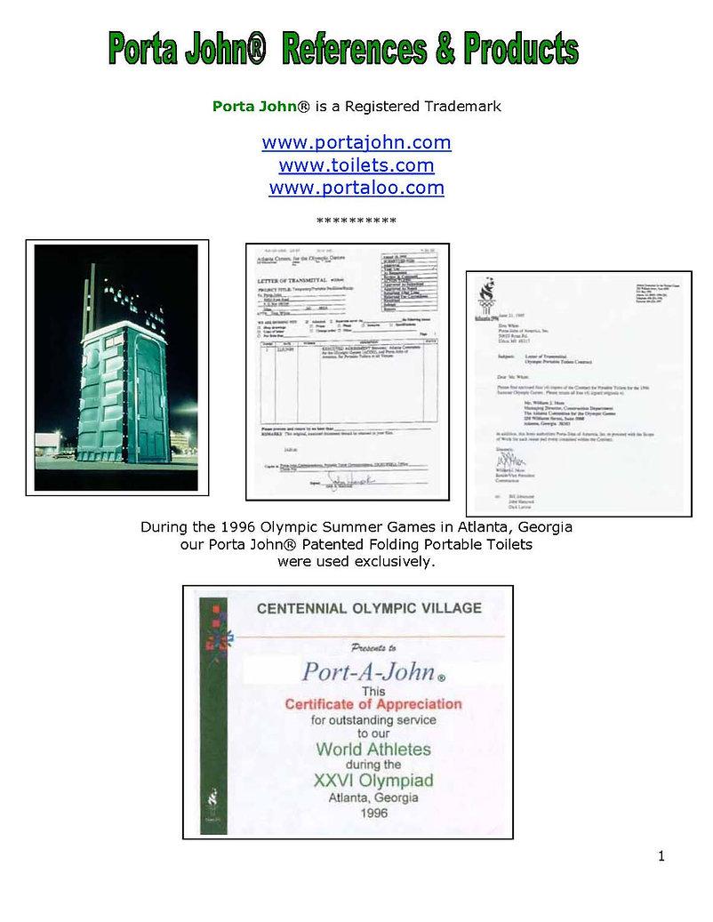 olympics, restrooms, Porta John®, portable, toilet, manufacturer