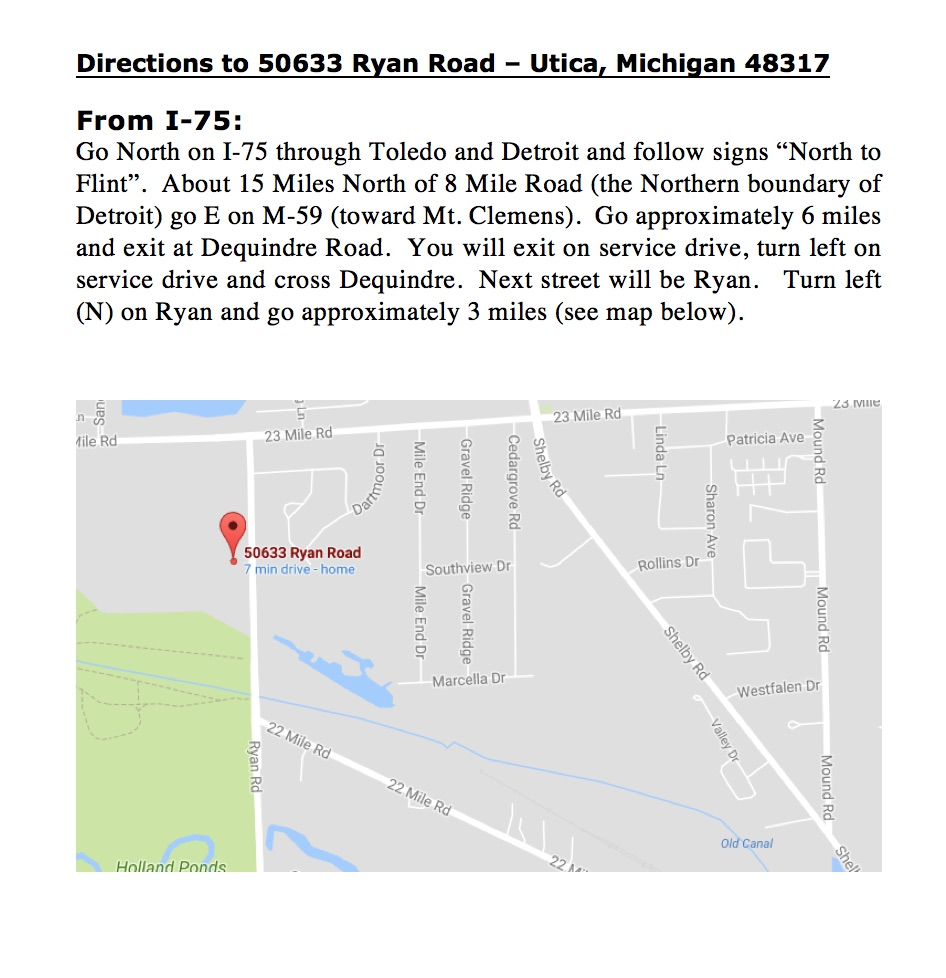 50633 Ryan Road Directions