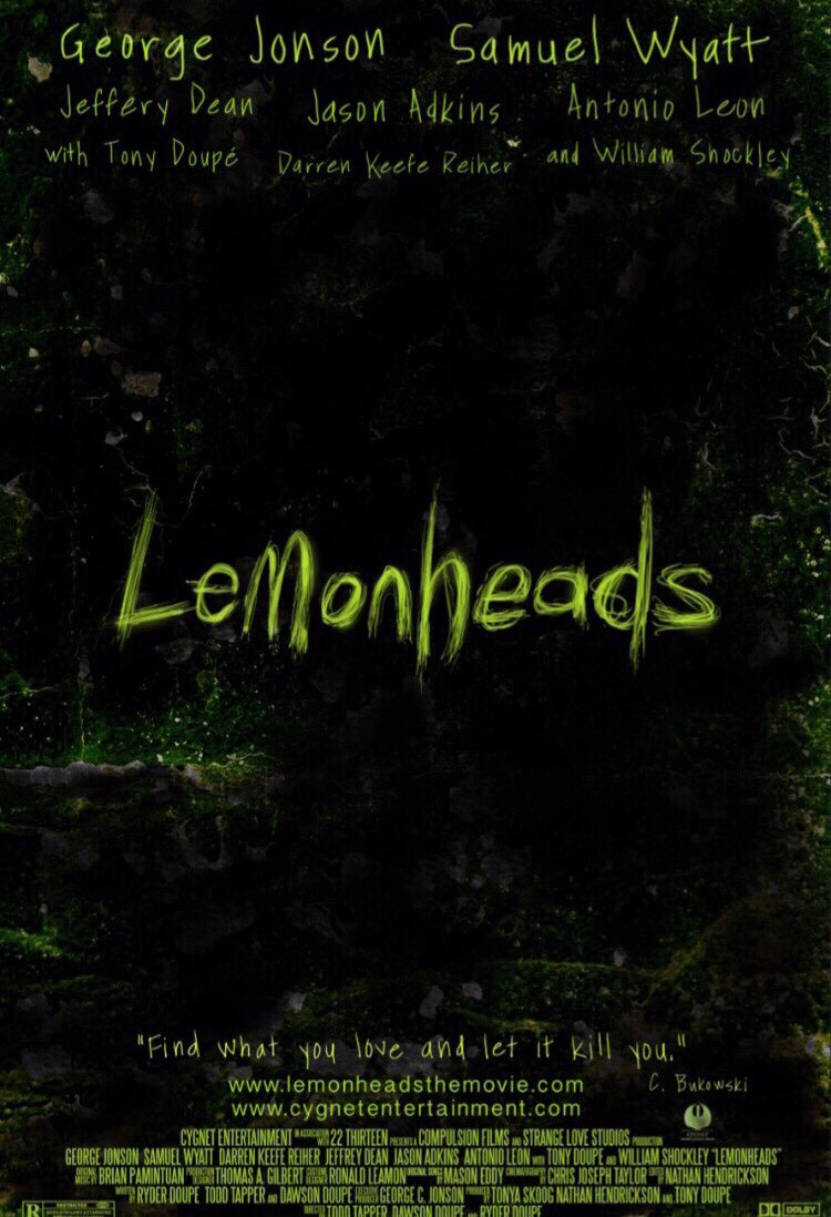 Film poster for Lemonheads. Green writing on a black background