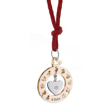 Pendentif Fête des Mères coeur & diamant en or rose & blanc