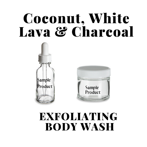 ACTIVATED COCONUT CHARCOAL & WHITE LAVA EXFOLIATING BODY WASH