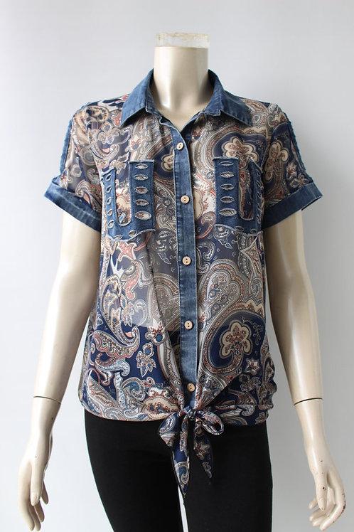 Vena Denim/Multi Blouse Style  22081