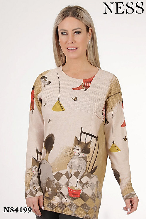 Ness Beige/Multi Sweater Style 84199