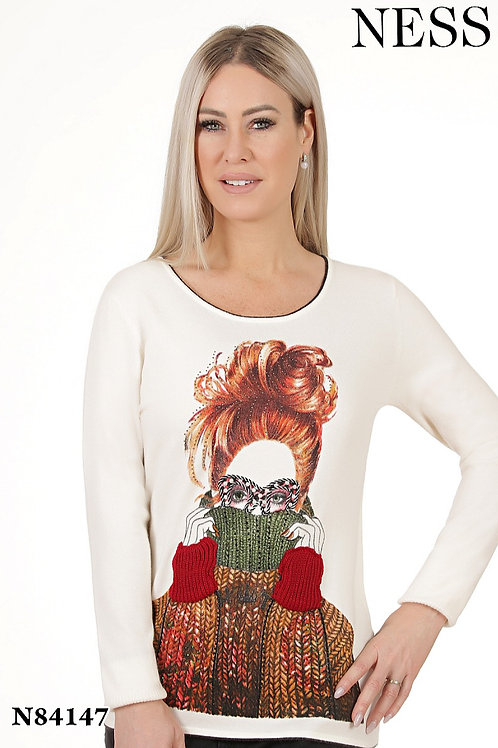 Ness Off White/Multi Sweater Style 84147