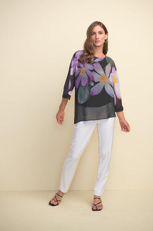Joseph Ribkoff Black/Purple/Multi Sheer Top Style 211264