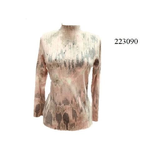 Beta Pink/Grey Light Mock Neck Style 223090